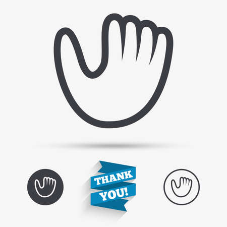 Baseball glove or mitt sign icon. Sport symbol. Flat icons. Buttons with icons. Thank you ribbon. Vector Vektorové ilustrace