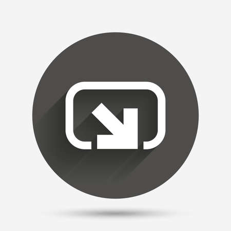 Action sign icon. Share symbol. Circle flat button with shadow. Vector