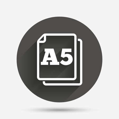 a5: Paper size A5 standard icon. File document symbol. Circle flat button with shadow. Vector