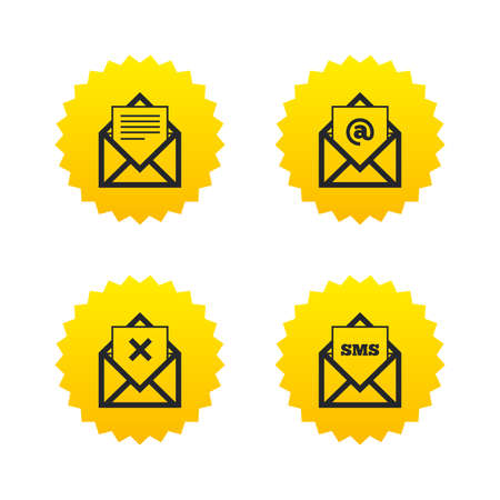 webmail: Mail envelope icons. Message document symbols. Post office letter signs. Delete mail and SMS message. Yellow stars labels with flat icons. Vector Illustration