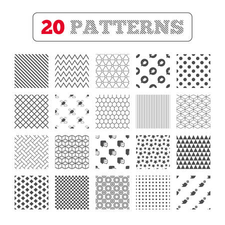 three dots: Ornament patterns, diagonal stripes and stars. Birds icons. Social media speech bubble. Chat bubble with three dots symbol. Geometric textures. Vector