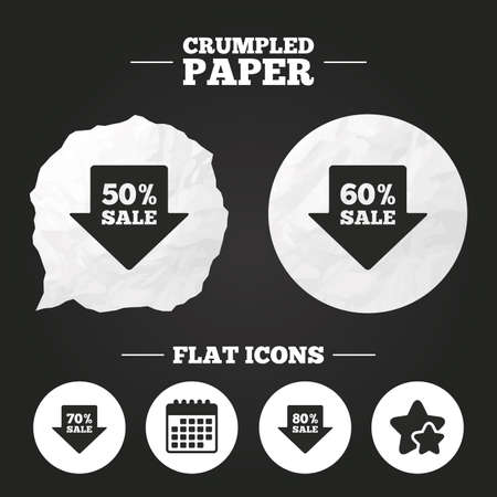 Crumpled paper speech bubble. Sale arrow tag icons. Discount special offer symbols. 50%, 60%, 70% and 80% percent sale signs. Paper button. Vector