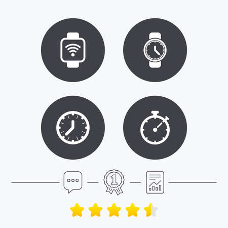 Smart watch wi-fi icons. Mechanical clock time, Stopwatch timer symbols. Wrist digital watch sign. Chat, award medal and report linear icons. Star vote ranking. Vector Illustration