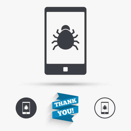 Smartphone virus sign icon. Software bug symbol. Flat icons. Buttons with icons. Thank you ribbon. Vector 向量圖像