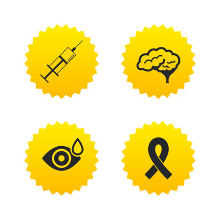 Medicine icons. Syringe, eye with drop, brain and ribbon signs. Breast cancer awareness symbol. Human smart mind. Yellow stars labels with flat icons. Vector