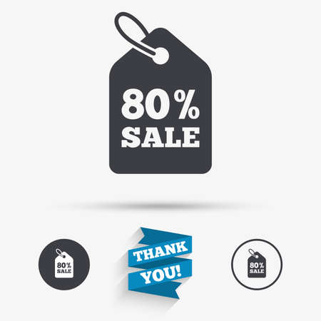 80% sale price tag sign icon. Discount symbol. Special offer label. Flat icons. Buttons with icons. Thank you ribbon. Vector Illustration