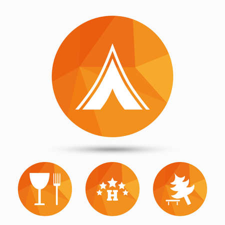 Food, hotel, camping tent and tree icons. Wineglass and fork. Break down tree. Road signs. Triangular low poly buttons with shadow. Vector