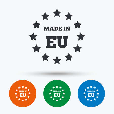 Made in EU icon. Export production symbol. Product created in European Union sign. Round circle buttons with icon. Vector Ilustração
