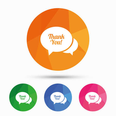 thanks a lot: Speech bubble thank you sign icon. Customer service symbol. Triangular low poly button with flat icon. Vector