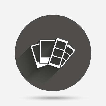 Foto-Rahmen-Vorlage Zeichen-Symbol. Photo Booth Streifen Symbol. Kreis flach Button mit Schatten. Vektor