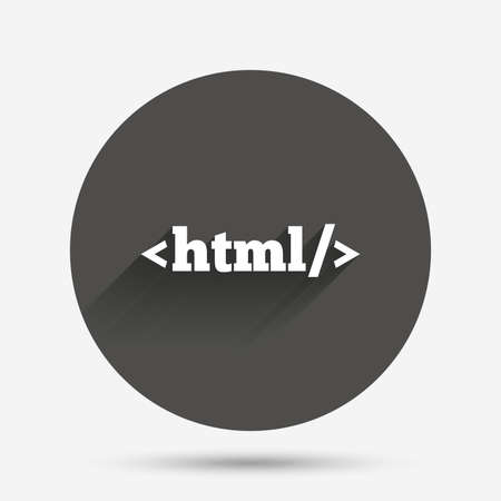 markup: HTML sign icon. Markup language symbol. Circle flat button with shadow. Vector