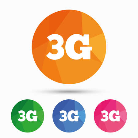 3g: 3G sign icon. Mobile telecommunications technology symbol. Triangular low poly button with flat icon. Vector