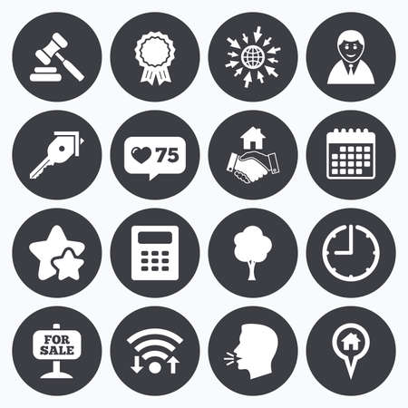 medal like: Calendar, wifi and clock symbols. Like counter, stars symbols. Real estate, auction icons. Handshake, for sale and calculator signs. Key, tree and award medal symbols. Talking head, go to web symbols. Vector