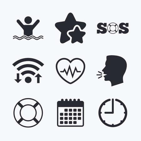 drowns: SOS lifebuoy icon. Heartbeat cardiogram symbol. Swimming sign. Man drowns. Wifi internet, favorite stars, calendar and clock. Talking head. Vector Illustration