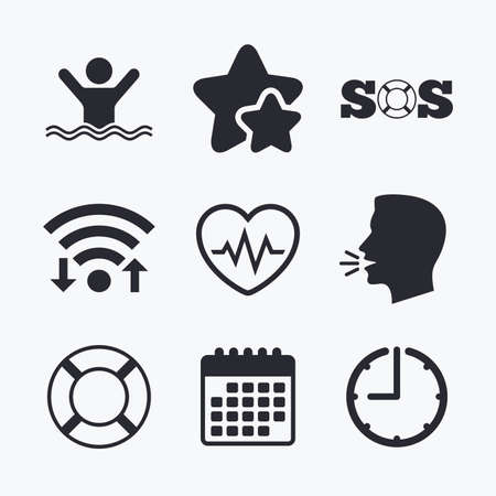 SOS lifebuoy icon. Heartbeat cardiogram symbol. Swimming sign. Man drowns. Wifi internet, favorite stars, calendar and clock. Talking head. Vector Illustration