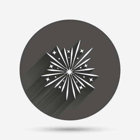 shadow show: Fireworks sign icon. Explosive pyrotechnic show symbol. Circle flat button with shadow. Vector