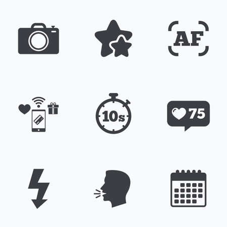 autofocus: Photo camera icon. Flash light and autofocus AF symbols. Stopwatch timer 10 seconds sign. Flat talking head, calendar icons. Stars, like counter icons. Vector