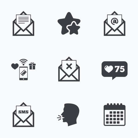webmail: Mail envelope icons. Message document symbols. Post office letter signs. Delete mail and SMS message. Flat talking head, calendar icons. Stars, like counter icons. Vector