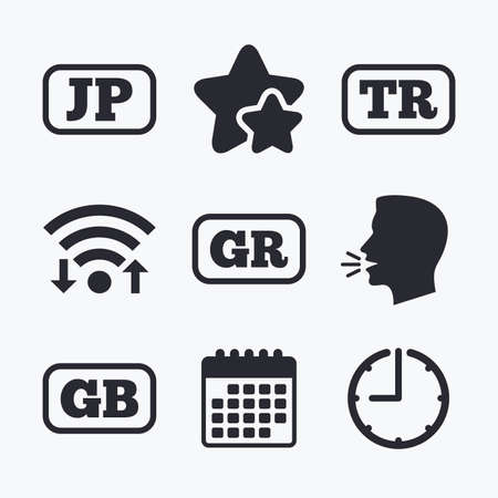 tr: Language icons. JP, TR, GR and GB translation symbols. Japan, Turkey, Greece and England languages. Wifi internet, favorite stars, calendar and clock. Talking head. Vector