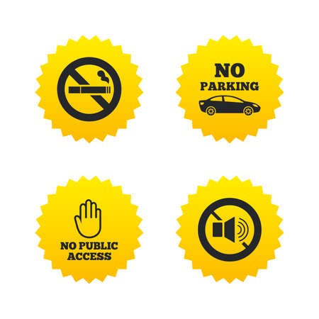 private access: Stop smoking and no sound signs. Private territory parking or public access. Cigarette and hand symbol. Yellow stars labels with flat icons. Vector