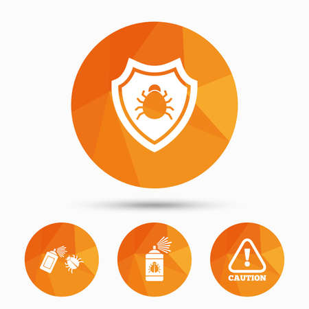 insanitary: Bug disinfection icons. Caution attention and shield symbols. Insect fumigation spray sign. Triangular low poly buttons with shadow. Vector Illustration