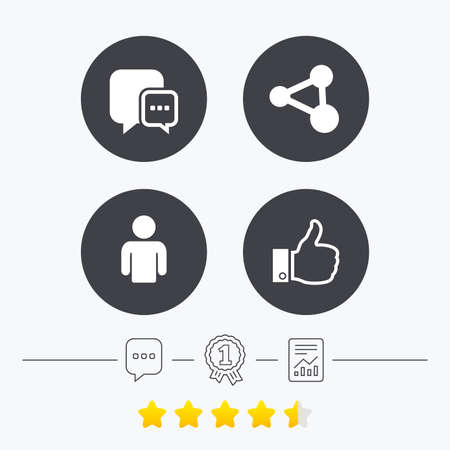 chat up: Social media icons. Chat speech bubble and Share link symbols. Like thumb up finger sign. Human person profile. Chat, award medal and report linear icons. Star vote ranking. Vector