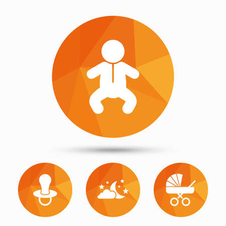 infants: Moon and stars symbol. Baby infants icon. Buggy and dummy signs. Child pacifier and pram stroller. Triangular low poly buttons with shadow. Vector Illustration