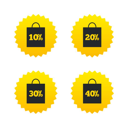 20 30: Sale bag tag icons. Discount special offer symbols. 10%, 20%, 30% and 40% percent discount signs. Yellow stars labels with flat icons. Vector