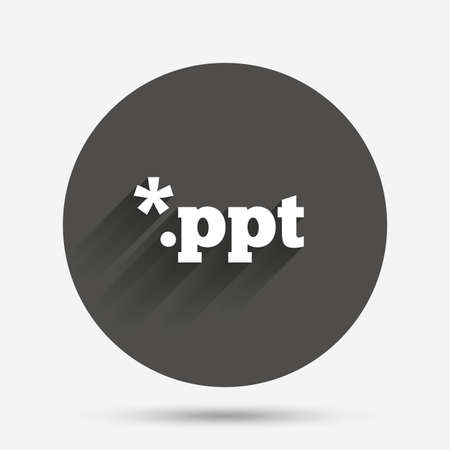 ppt: File presentation icon. Download PPT button. PPT file extension symbol. Circle flat button with shadow. Vector Illustration