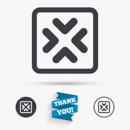 enlarge: Enlarge or resize icon. Full Screen extend symbol. Flat icons. Buttons with icons. Thank you ribbon. Vector