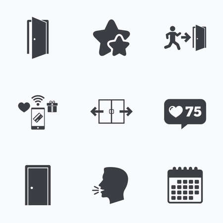 fire exit: Automatic door icon. Emergency exit with human figure and arrow symbols. Fire exit signs. Flat talking head, calendar icons. Stars, like counter icons. Vector Illustration