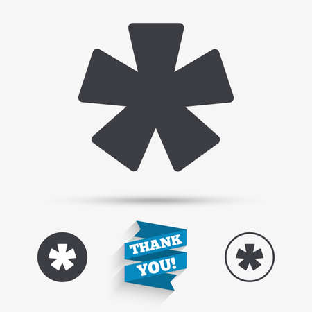 more information: Asterisk footnote sign icon. Star note symbol for more information. Flat icons. Buttons with icons. Thank you ribbon. Vector