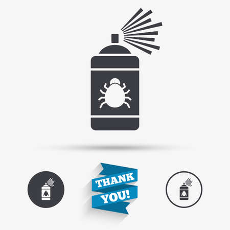 disinfection: Bug disinfection sign icon. Fumigation symbol. Bug sprayer. Flat icons. Buttons with icons. Thank you ribbon. Vector Illustration