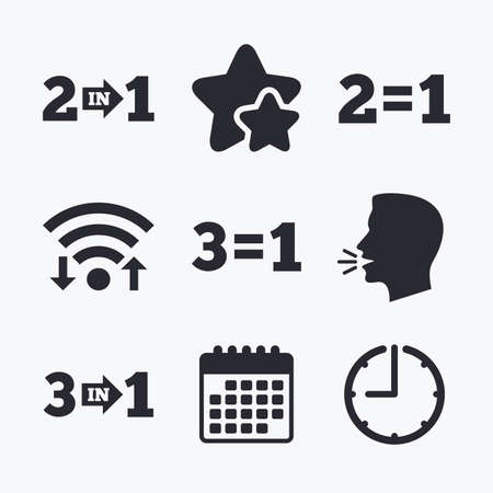 equals: Special offer icons. Take two pay for one sign symbols. Profit at saving. Wifi internet, favorite stars, calendar and clock. Talking head. Vector