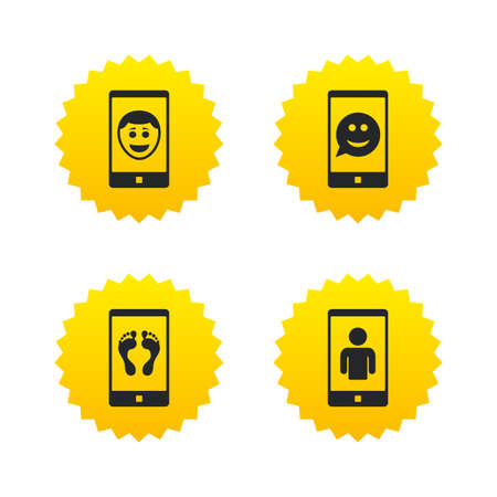 video call: Selfie smile face icon. Smartphone video call symbol. Self feet or legs photo. Yellow stars labels with flat icons. Vector