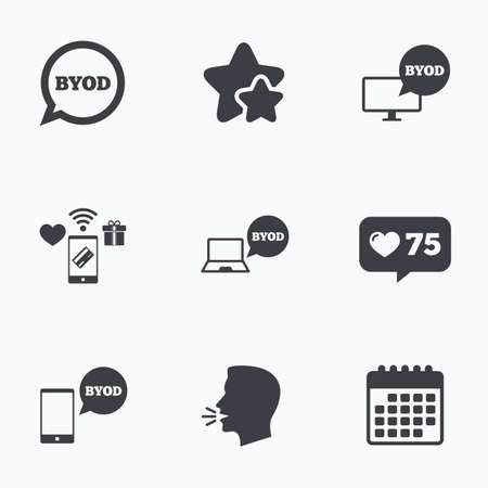 BYOD icons. Notebook and smartphone signs. Speech bubble symbol. Flat talking head, calendar icons. Stars, like counter icons. Vector