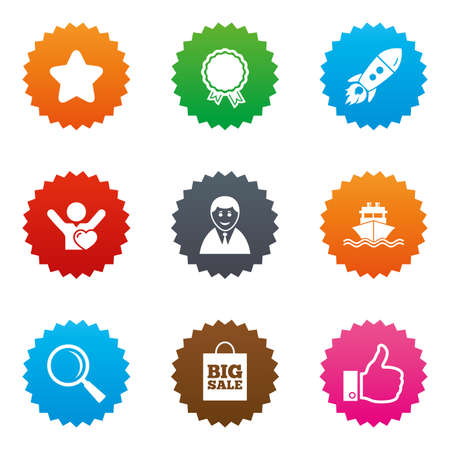 medal like: Online shopping, e-commerce and business icons. Start up, award and customers like signs. Big sale, shipment and favorite symbols. Stars label button with flat icons. Vector