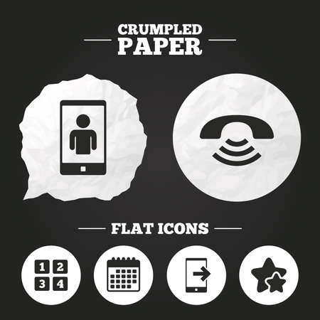 video call: Crumpled paper speech bubble. Phone icons. Smartphone video call sign. Call center support symbol. Cellphone keyboard symbol. Paper button. Vector