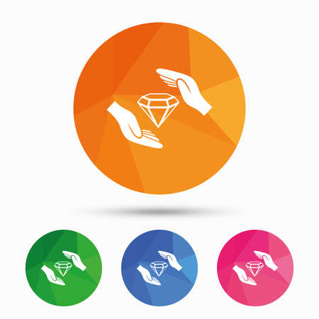brilliants: Jewelry insurance sign icon. Hands protect cover diamonds symbol. Brilliants insurance. Triangular low poly button with flat icon. Vector