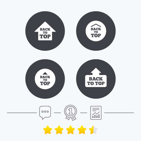 scroll up: Back to top icons. Scroll up with arrow sign symbols. Chat, award medal and report linear icons. Star vote ranking. Vector