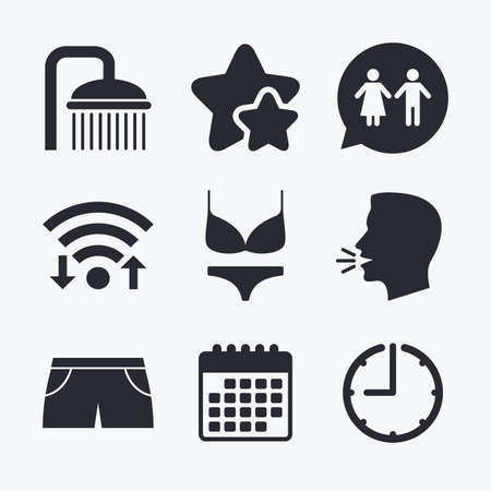 women in underwear: Swimming pool icons. Shower water drops and swimwear symbols. WC Toilet speech bubble sign. Trunks and women underwear. Wifi internet, favorite stars, calendar and clock. Talking head. Vector