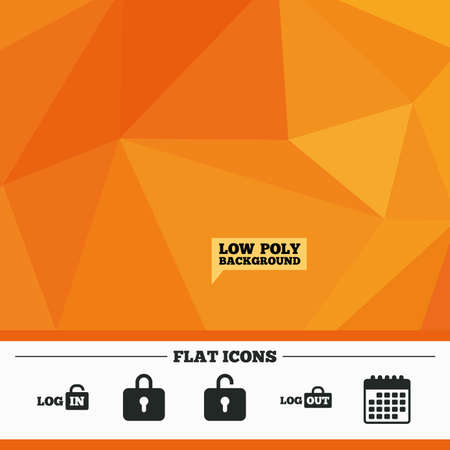 lock out: Triangular low poly orange background. Login and Logout icons. Sign in or Sign out symbols. Lock icon. Calendar flat icon. Vector