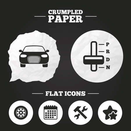 automatic transmission: Crumpled paper speech bubble. Transport icons. Car tachometer and automatic transmission symbols. Repair service tool with wheel sign. Paper button. Vector Illustration