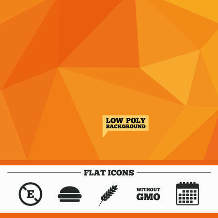 stabilizers: Triangular low poly orange background. Food additive icon. Hamburger fast food sign. Gluten free and No GMO symbols. Without E acid stabilizers. Calendar flat icon. Vector