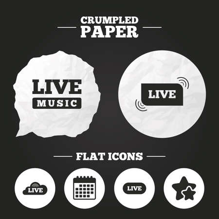 live stream sign: Crumpled paper speech bubble. Live music icons. Karaoke or On air stream symbols. Cloud sign. Paper button. Vector Illustration