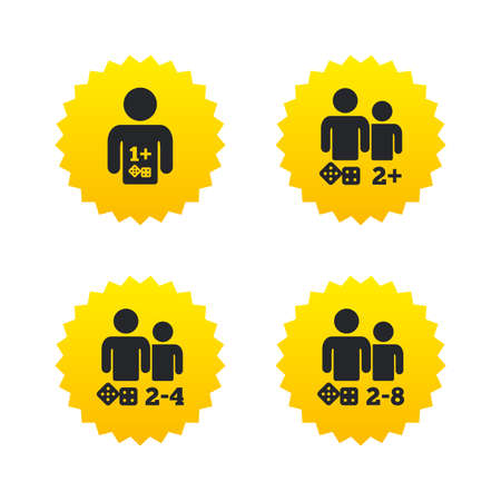 gamer: Gamer icons. Board games players sign symbols. Yellow stars labels with flat icons. Vector