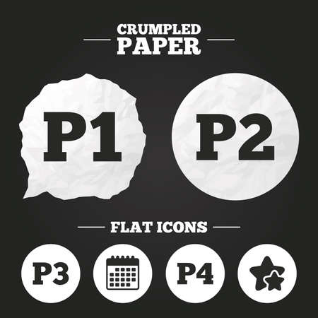 bubble car: Crumpled paper speech bubble. Car parking icons. First, second, third and four floor signs. P1, P2, P3 and P4 symbols. Paper button. Vector Illustration
