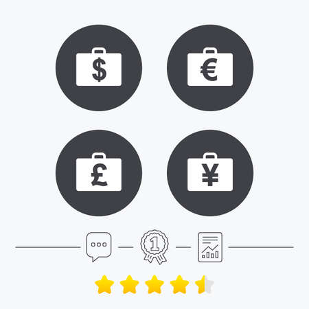 diplomat: Businessman case icons. Cash money diplomat signs. Dollar, euro and pound symbols. Chat, award medal and report linear icons. Star vote ranking. Vector