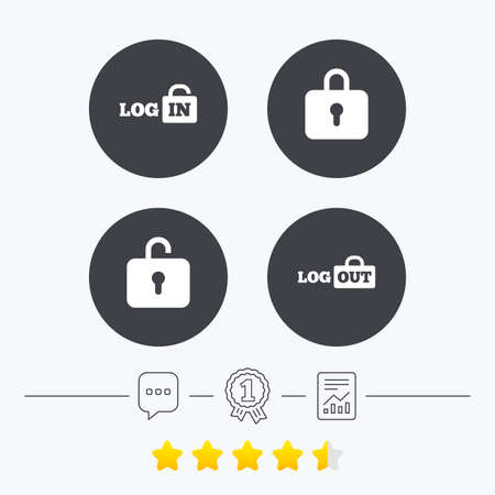 sign out: Login and Logout icons. Sign in or Sign out symbols. Lock icon. Chat, award medal and report linear icons. Star vote ranking. Vector