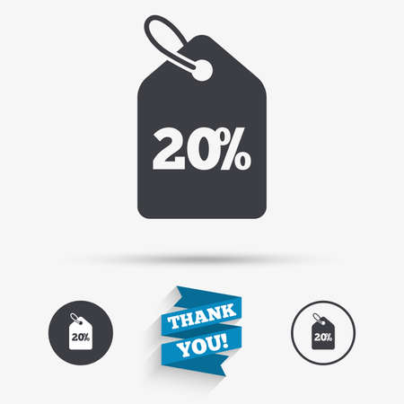 you are special: 20% sale price tag sign icon. Discount symbol. Special offer label. Flat icons. Buttons with icons. Thank you ribbon. Vector Illustration